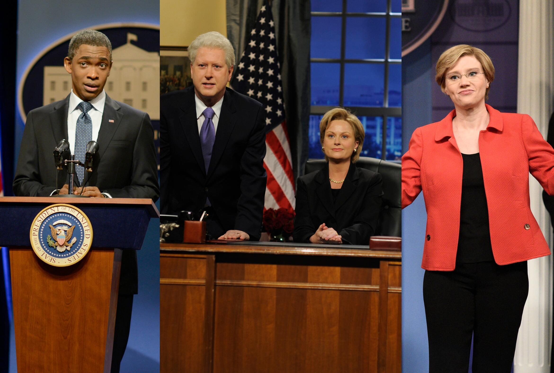 Jay Pharoah, Darrell Hammond, Amy Poehler, and Kate McKinnon, Saturday Night Live