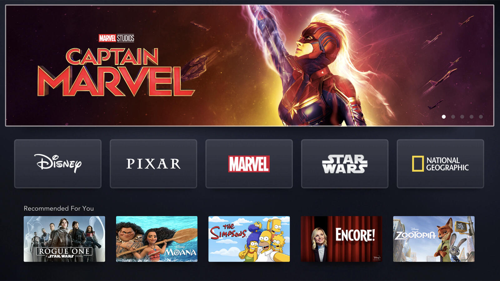 Homescreen of Disney Plus