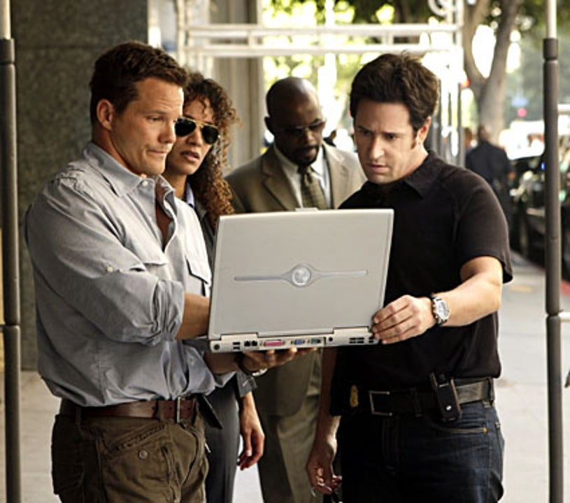 """Numb3rs - Season 5, """"The Decoy Effect"""" - Dylan Bruno as Colby, Sophina Brown as Nikki, Alimi Ballard as David, Rob Morrow as Don"""