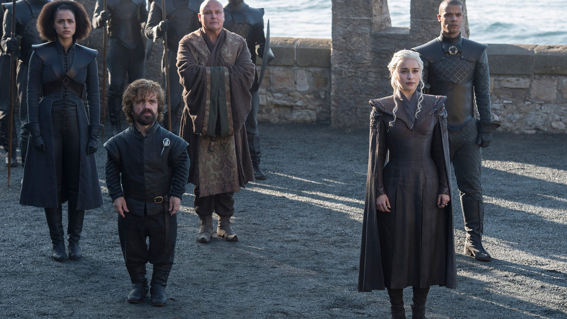 Nathalie Emmanuel, Peter Dinklage, Conleth Hill, Emilia Clarke, and Jacob Anderson; Game of Thrones
