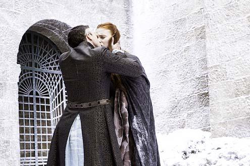 "Game of Thrones - Season 4 - ""Mockingbird"" - Aidan Gillen and Sophie Turner"