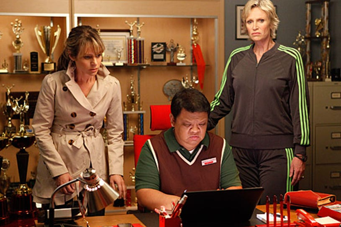 "Glee - Season 2 - ""Funeral"" - Jessalyn Gilsig as Terri, guest star Kent Avenido as Howard and Jane Lynch as Sue"