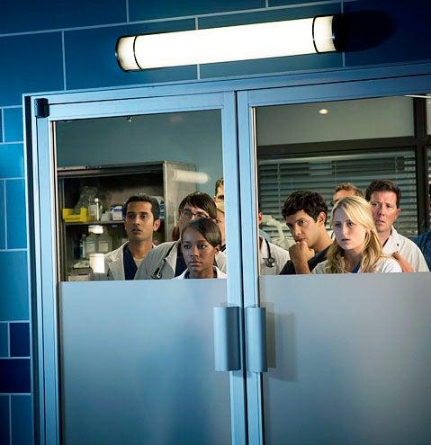 "Emily Owens, M.D. - Season 1 - ""Emily and... the Predator"" - Aja Naomi King, Michael Rady and Mamie Gummer"