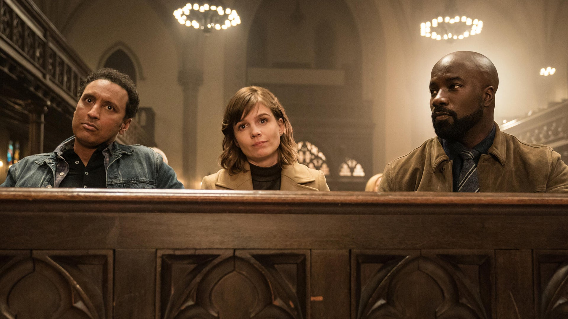 Aasif Mandvi, Katja Herbers, and Mike Colter, Evil