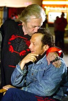 "David Carradine and Rob Schneider - ""Big Stan"" on set,  June 2006"