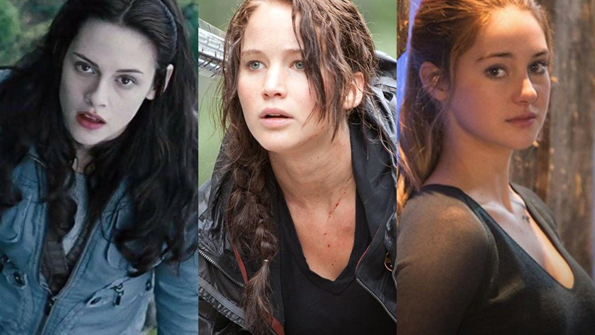 Kristen Stewart, Twilight; Jennifer Lawrence, The Hunger Games; Shailene Woodley, Divergent