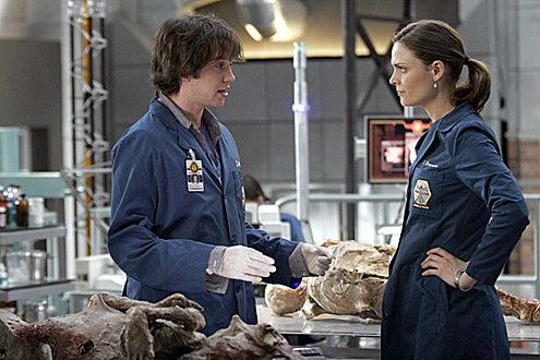 "Bones - Season 2 - ""Aliens in the Spaceship"" - Emily Deschanel as Brennan and Eric Millegan as Zack"