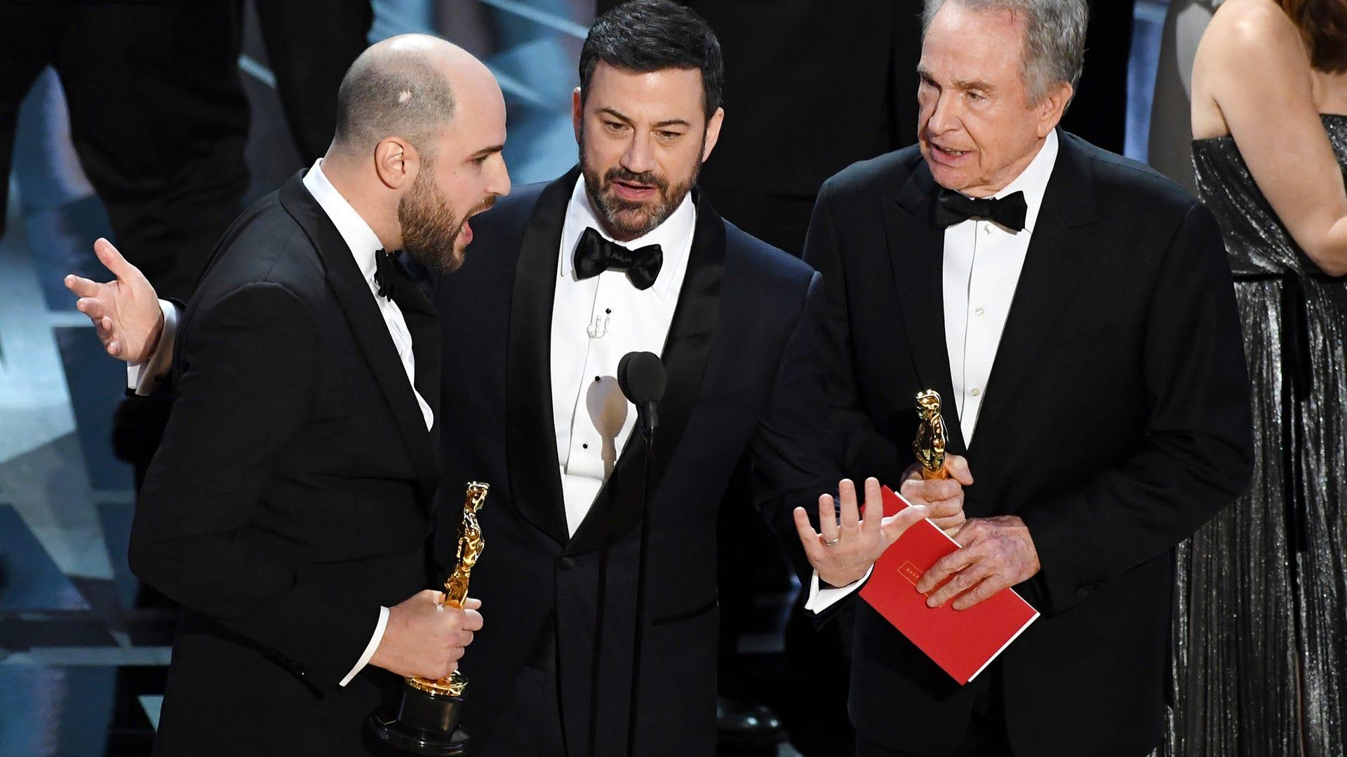 Jordan Horowitz, Jimmy Kimmel and Warren Beatty