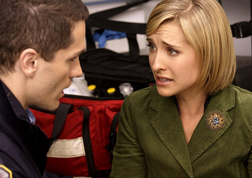 "Smallville - Season 8 - ""Abyss"" - Sam Witwer as Davis Bloom and Allison Mack as Chloe Sullivan"