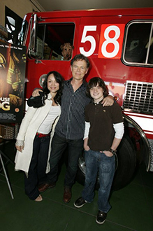 "Mayte Garcia, Bruce Greenwood and Josh Hutcherson - ""Adopt-a-Fire-House"" event,"