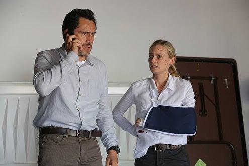 "The Bridge - Season 1 - ""Old Friends"" - Demian Bichir as Marco Ruiz, Diane Kruger as Sonya Cross"