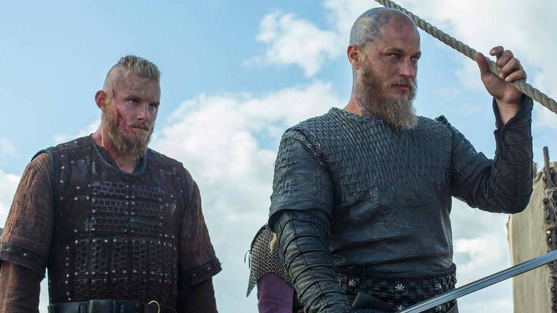 Alexander Ludwig and Travis Fimmel, Vikings