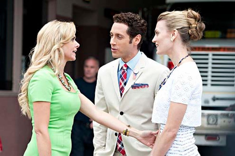 """Royal Pains - Season 5 - """"A Trismus Story"""" - Laura Bell Bundy, Paulo Costanzo and Brooke D'Orsay"""