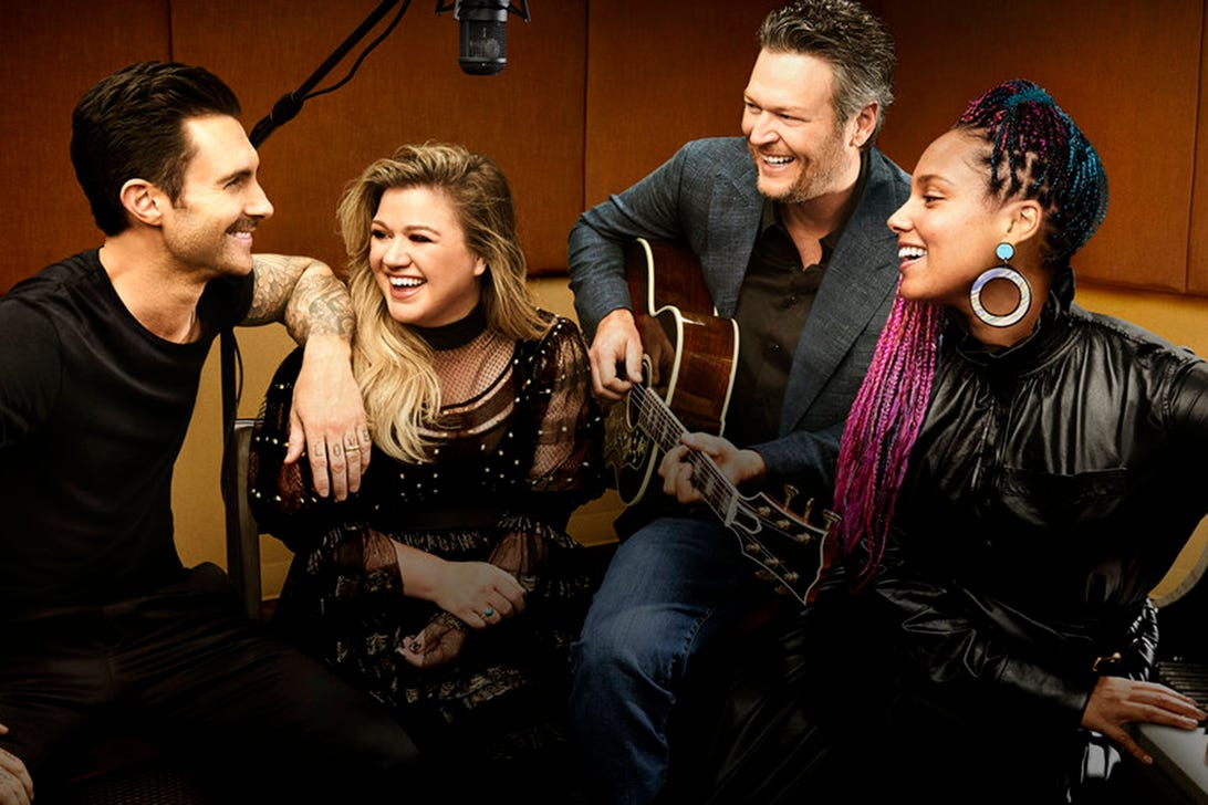 Adam Levine, Kelly Clarkson, Blake Shelton, Alicia Keys; The Voice