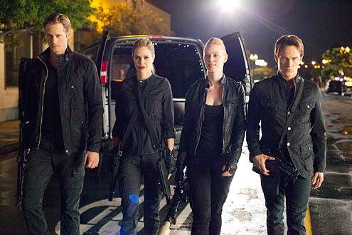 "True Blood - Season 4 - ""Burning Down the House"" - Alexander Skarsgard, Kristin Bauer van Straten, Deborah Ann Woll and Stephen Moyer"