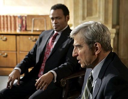 """Law & Order - """"Murder Book"""" - Mario Van Peebles as Marcus Carsley, Sam Waterston as Jack McCoy"""
