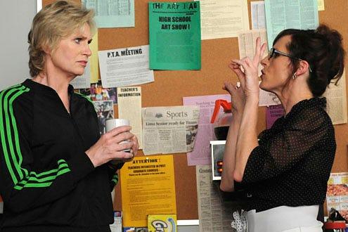 "Glee - Season 1 - ""Bad Reputation"" - Jane Lynch as Sue and guest-star Molly Shannon as Brenda"