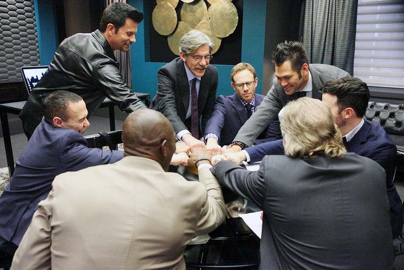 The Celebrity Apprentice - Season 14 - Gilbert Gottfried, Lorenzo Lamas, Terrell Owens, Geraldo Rivera, Ian Ziering, Johnny Damon, Sig Hansen and Kevin Jonas