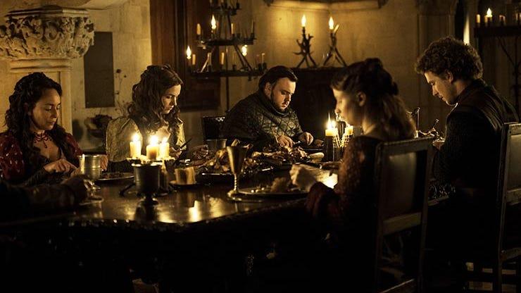 Samantha Spiro, Hannah Murray, John Bradley, Rebecca Benson and Freddie Stroma, Game of Thrones
