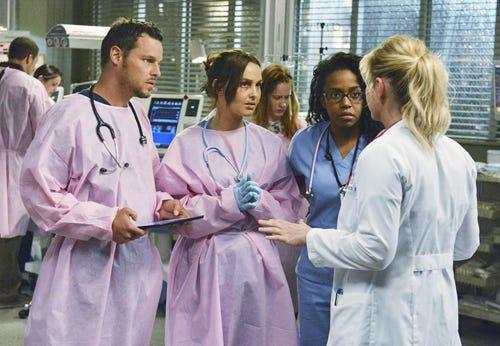 Greys Anatomy - Season 9 - Perfect Storm - Justin Chambers, Camilla Luddington, Jerrika Hinton, Jessica Capshaw