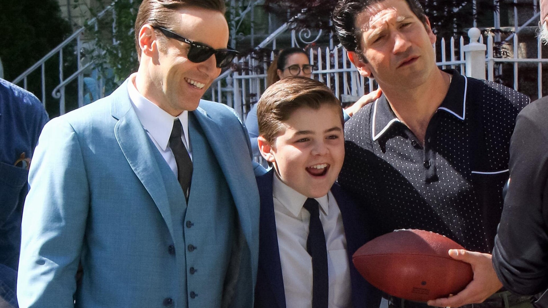 Alessandro Nivola, William Ludwig, and Jon Bernthal on The Many Saints of Newark set in New York City on May 21, 2019.
