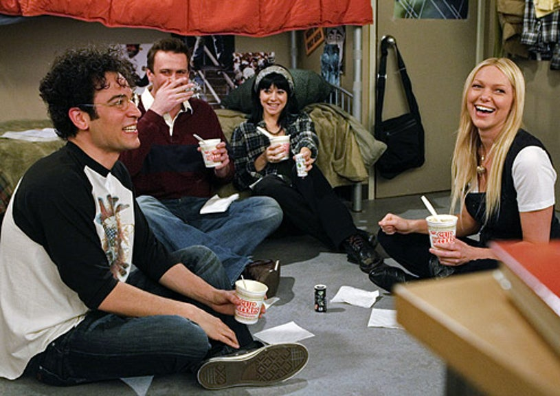 """How I Met Your Mother - Season 4 - """"Sorry Bro"""" - Josh Radnor as Ted, Jason Segel as Marshall, Alyson Hannigan as Lily and Laura Prepon as Karen"""