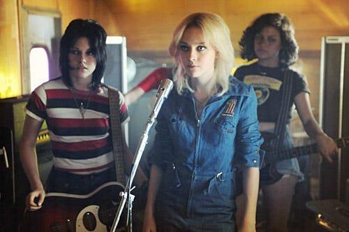 The Runaways - Kristen Stewart as Joan Jett, Dakota Fanningas Cherie Currie and Alia Shawkat as Robin