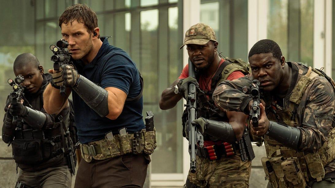 Chris Pratt, Keith Powers, and Sam Richardson, The Tomorrow War