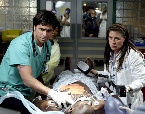 "ER - Season 15, ""The Book of Abby"" - John Stamos as Tony Gates, Maura Tierney as Abby Lockhart"