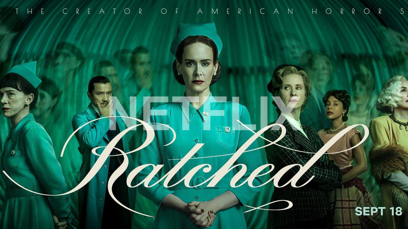 Ratched: (L-R) Finn Wittrock, Judy Davis, Jon Jon Briones, Sarah Paulson, Cynthia Nixon, Sophie Okonedo, Sharon Stone, Charlie Carver