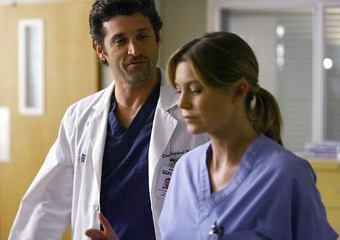"Grey's Anatomy - Season 5 Premiere, ""Dream a Little Dream of Me"" - Patrick Dempsey as Derek, Ellen Pompeo as Meredith"