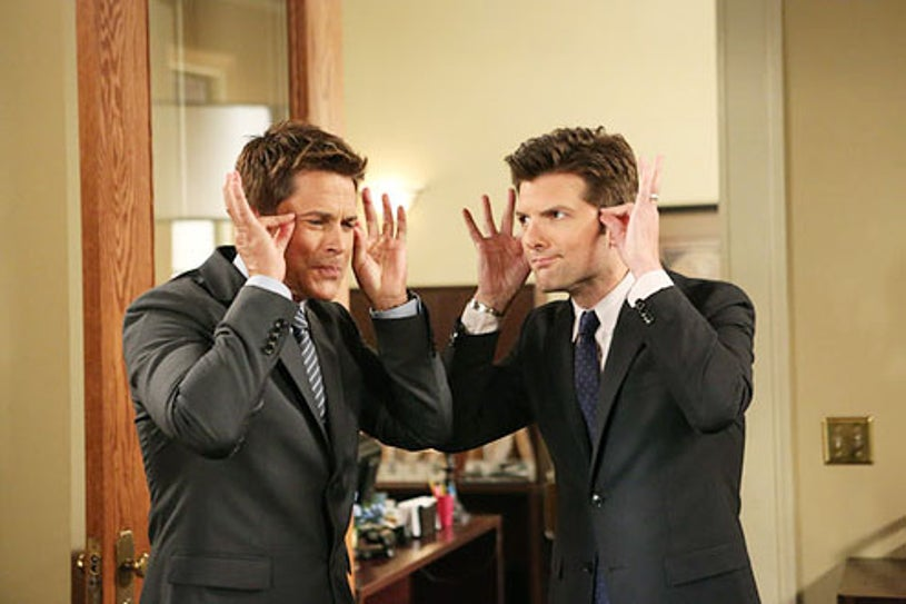 """Parks and Recreation - Season 6 - """"The Pawnee-Eagleton Tip Off Classic'"""" - Rob Lowe and Adam Scott"""