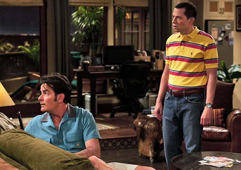 """Two and a Half Men - Season 7 - """"This Is Not Gonna End Well"""" - Charlie Sheen as Charlie Harper and Jon Cryer as Alan Harper"""