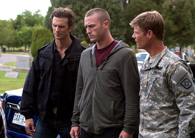 "In Plain Sight - Season 4 - ""Provo-cation"" - Frederick Weller as Marshall Mann, Jake McLaughlin as John Spears and Joel Gretsch as Major Lucas Provo"