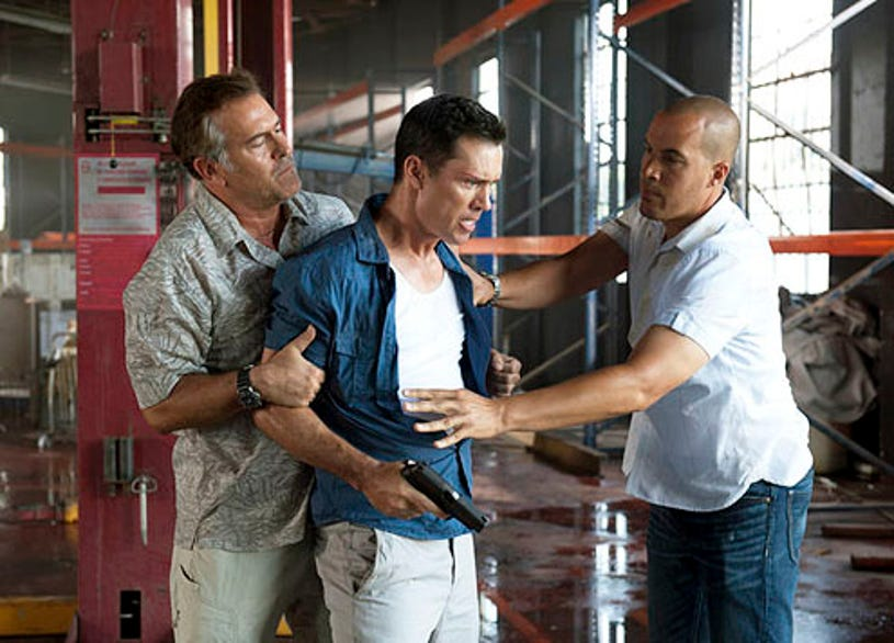"""Burn Notice - Season 6 - """"Desperate Measures"""" - Bruce Campbell, Jeffrey Donovan and Coby Bell"""