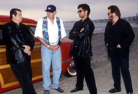 Brian Wilson, Mike Love, John Stamos and Carl Wilson from The Beach Boys, January 1, 1980