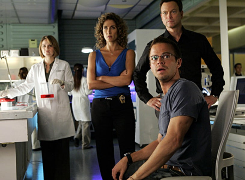"CSI: NY - Season 4, ""You Only Die Once"" - Anna Belknap as Lindsay, Melina Kanakaredes as Stella, Gary Sinise as Mac, Carmine Giovinazzo as Danny"