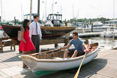 "Royal Pains - Season 6 - ""A Bigger Boat"" - Reshma Shetty, Ben Shenkman and Justin Bruening"