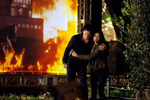 "The Vampire Diaries - Season 2 - ""As I Lay Dying"" - Ian Somerhalder as Damon Salvatore and Nina Dobrev as Elena Gilbert"