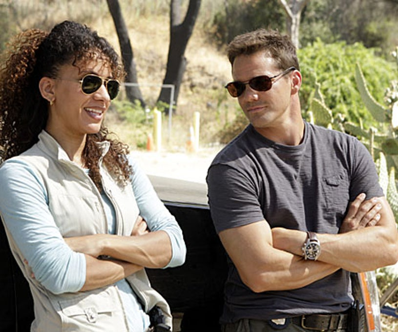 """Numb3rs - Season 5 Premiere, """"High Exposure"""" - Sophina Brown as Nikki Betancourt, Dylan Bruno as Colby Granger"""