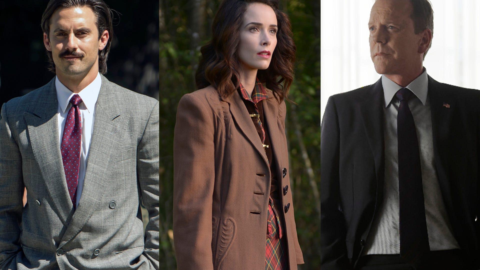 Milo Ventimiglia, This Is Us; Abigail Spencer, Timeless; Kiefer Sutherland, Designated Survivor