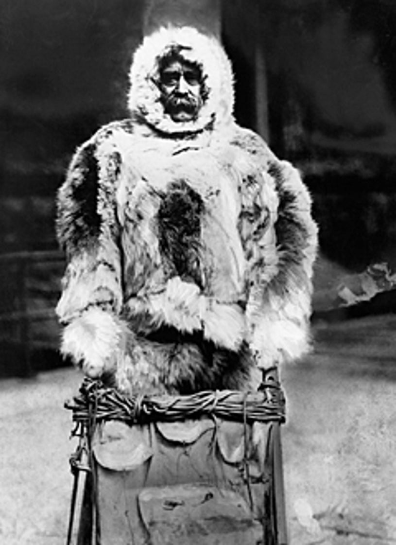 """American Experience - """"Minik, the Lost Eskimo"""" -  Robert E. Peary, the man usually credited with first reaching the North Pole, wearing furs and driving a sled in 1909."""