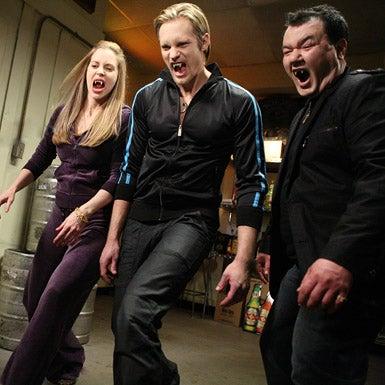 True Blood - Season 2 - Kristin Bauer, Alexander Skarsgard and Patrick Gallagher
