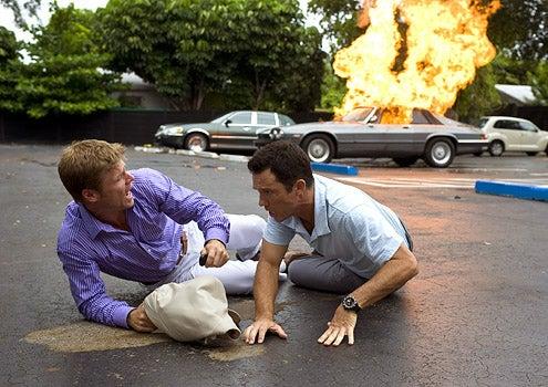 "Burn Notice - Season 2 - ""Seek and Destroy"" - Joel Gretsch as Scott Chandler and Jeffrey Donovan as Michael Westen"