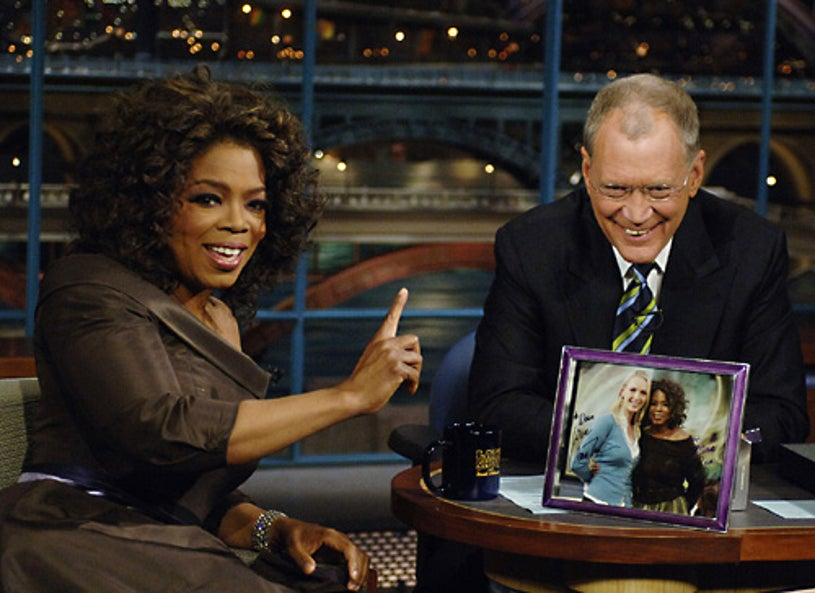 "The Late Show with David Letterman - Oprah Winfrey returns to chat with David Letterman, 16 years after her previous visit. Following the interview, Dave escorted Oprah across 53rd street to the opening of her new Broadway Show ""The Color Purple"". - December 1, 2005"