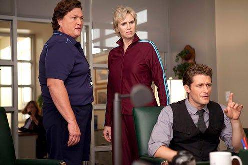 "Glee - Season 2 - ""Audition"" - Guest star Dot Jones as coach Beiste, Jane Lynch as Sue and Matthew Morrison as Will"