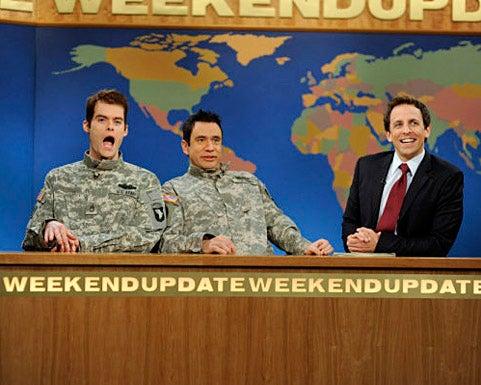 "Saturday Night Live - Season 35 - ""Gerard Butler"" - Bill Hader, Fred Armisen, Seth Meyers"