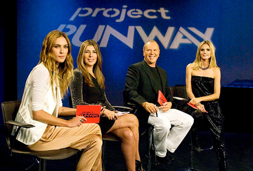 "Project Runway - Season 9 - ""Off the Track"" -  Erin Wasson, Nina Garica, Michael Kors and Heidi Klum"