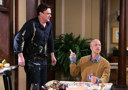 """How I Met Your Mother - Season 5 - """"Slapsgiving 2: Revenge of the Slap"""" -  Jason Segel as Marshall and guest star Chris Elliot"""