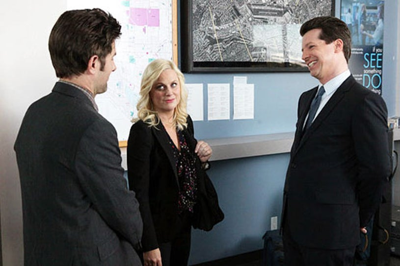 """Parks and Recreation - Season 4 - """"Lucky"""" - Adam Scott, Amy Poehler and Sean Hayes"""